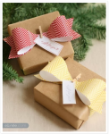brown paper packages with paper ribbon